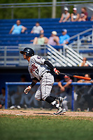 Tri-City ValleyCats shortstop Miguelangel Sierra (13) hits a single during a game against the Batavia Muckdogs on July 16, 2017 at Dwyer Stadium in Batavia, New York.  Tri-City defeated Batavia 13-8.  (Mike Janes/Four Seam Images)