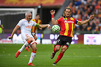 20191102 – Lens , France : Guillaume Gillet (27) of Lens pictured in a duel with Fabien Lemoine (18) of Lorient during a French Ligue 2 soccer game between Racing Club de Lens and FC Lorient , a football game on the 13th matchday in the French second league, on saturday 2 nd of November 2019 at the Stade Bollaert Delelis in Lens , France . PHOTO SPORTPIX.BE | DAVID CATRY