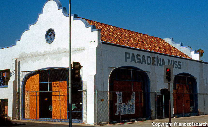 Pasadena CA: Mission Revival, Pasadena Nissan. Colorado Blvd. and Catalina.  Photo 1991