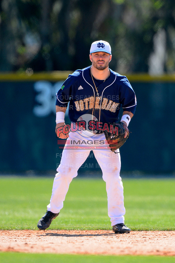 Notre Dame Fighting Irish second baseman Frank DeSico #35 during a game against the Mercer Bears at the Buck O'Neil Complex on February 17, 2013 in Sarasota, Florida.  Mercer defeated Notre Dame 5-4.  (Mike Janes/Four Seam Images)