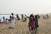 TOGO, Lome, beach and sea shore atlantic ocean at early evening /  Strand am Atlantik