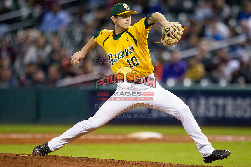 Baylor Bears pitcher Austin Stone (10) delivers a pitch to the plate during the Houston College Classic against the Texas A&M Aggies on March 8, 2015 at Minute Maid Park in Houston, Texas. Texas A&M defeated Baylor 3-2. (Andrew Woolley/Four Seam Images)