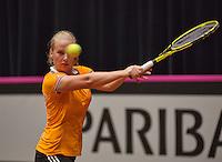 The Netherlands, Den Bosch, 16.04.2014. Fed Cup Netherlands-Japan, practice  Richel Hogenkamp (NED)<br /> Photo:Tennisimages/Henk Koster