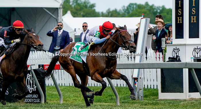 May 15, 2021: Mean Mary, #5, ridden by jockey Luis Saez, wins the Gallorette Stakes on Preakness Stakes Day at Pimlico Race Course in Baltimore, Maryland. John Voorhees/Eclipse Sportswire/CSM