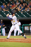Montgomery Biscuits designated hitter Justin O'Conner (10) at bat during a game against the Mississippi Braves on April 26, 2017 at Montgomery Riverwalk Stadium in Montgomery, Alabama.  Montgomery defeated Mississippi 5-2.  (Mike Janes/Four Seam Images)