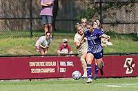 NEWTON, MA - SEPTEMBER 12: Shelley Blumsack #11 of Holy Cross brings the ball forward as Laura Gouvin #8 of Boston College closes during a game between Holy Cross and Boston College at Newton Campus Soccer Field on September 12, 2021 in Newton, Massachusetts.