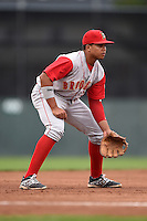 Brooklyn Cyclones third baseman Jhoan Urena (13) during a game against the Batavia Muckdogs on August 11, 2014 at Dwyer Stadium in Batavia, New York.  Batavia defeated Brooklyn 4-3.  (Mike Janes/Four Seam Images)