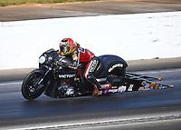 May 14, 2016; Commerce, GA, USA; NHRA pro stock motorcycle rider Angie Smith during qualifying for the Southern Nationals at Atlanta Dragway. Mandatory Credit: Mark J. Rebilas-USA TODAY Sports
