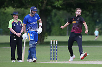J Poulter in bowling action for Fives during Upminster CC vs Fives & Heronians CC, Hamro Foundation Essex League Cricket at Upminster Park on 5th June 2021