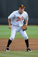 Third Baseman Zach Luther #11 awaits a play during a  game against the Kentucky Wildcats at Lindsey Nelson Stadium on March 24, 2012 in Knoxville, Tennessee. The game was suspended in the bottom of the 5th with the Wildcats leading 5-0. Tony Farlow/Four Seam Images.