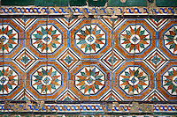 16th century Spanish Mudjar tiles from the Pavillion of Carlos V, Selivve Alcazar, Seville, Spain