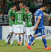 MEDELLIN-COLOMBIA, 27-09-2016. Daniel Bocanegra  jugador de Atlético Nacional  celebra con sus compañeros su gol contra  el Sol de América  durante encuentro  por la Copa Sudamericana 2016 octavos de final  disputado en el estadio Atanasio Girardot./ Daniel Bocanegra  player of Atletico Nacional celebrates  with his parnerts his goal against Sol of America of Paraguay   during match for the Sudamericana Cup 2016  played at Atanasio Girardot stadium . Photo:VizzorImage / León Monsalve / Contribuidor
