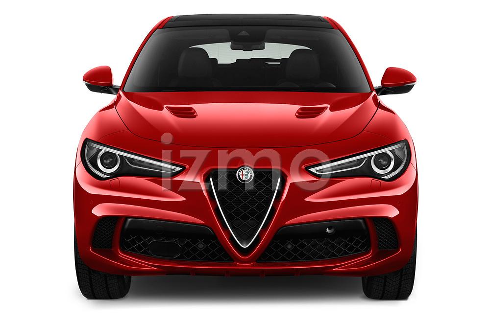 Car photography straight front view of a 2019 Alfaromeo Stelvio-Quadrifoglio - 5 Door SUV Front View