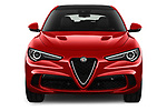 Car photography straight front view of a 2019 Alfaromeo Stelvio-Quadrifoglio - 5 Door SUV Front View