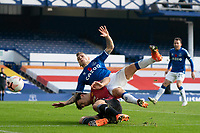 7th November 2020; Liverpool, England; Evertons Lucas Digne is tackled by Manchester Uniteds Harry Maguire during the Premier League match between Everton and Manchester United at Goodison Park Stadium