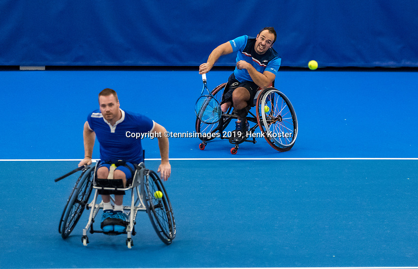 Amstelveen, Netherlands, 8  December, 2020, National Tennis Center, NTC, NKR, National  Indoor Wheelchair Tennis Championships, Men's doubles :   Tom Egberink [1]<br /> Maikel Scheffers (NED) (L)<br /> Photo: Henk Koster/tennisimages.com