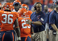 ATLANTA, GA - DECEMBER 31:  Head coach Mike London of the Virginia Cavaliers coaches his team during the 2011 Chick Fil-A Bowl at the Georgia Dome on December 31, 2011 in Atlanta, Georgia. Auburn defeated Virginia 43-24. (Photo by Andrew Shurtleff/Getty Images) *** Local Caption *** Mike London