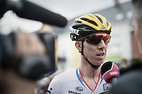 Sep Vanmarcke (BEL/LottoNL-Jumbo) interviewed at the start<br /> <br /> 101st Kampioenschap van Vlaanderen 2016 (UCI 1.1)<br /> Koolskamp › Koolskamp (192.4km)