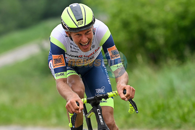 Taco Van Der Hoorn (NED) Intermarche-Wanty-Gobert-Materiaux attacks from the breakaway during Stage 3 of the 2021 Giro d'Italia, running 190km from Biella to Canale, Italy. 10th May 2021.  <br /> Picture: LaPresse/Fabio Ferrari | Cyclefile<br /> <br /> All photos usage must carry mandatory copyright credit (© Cyclefile | LaPresse/Fabio Ferrari)