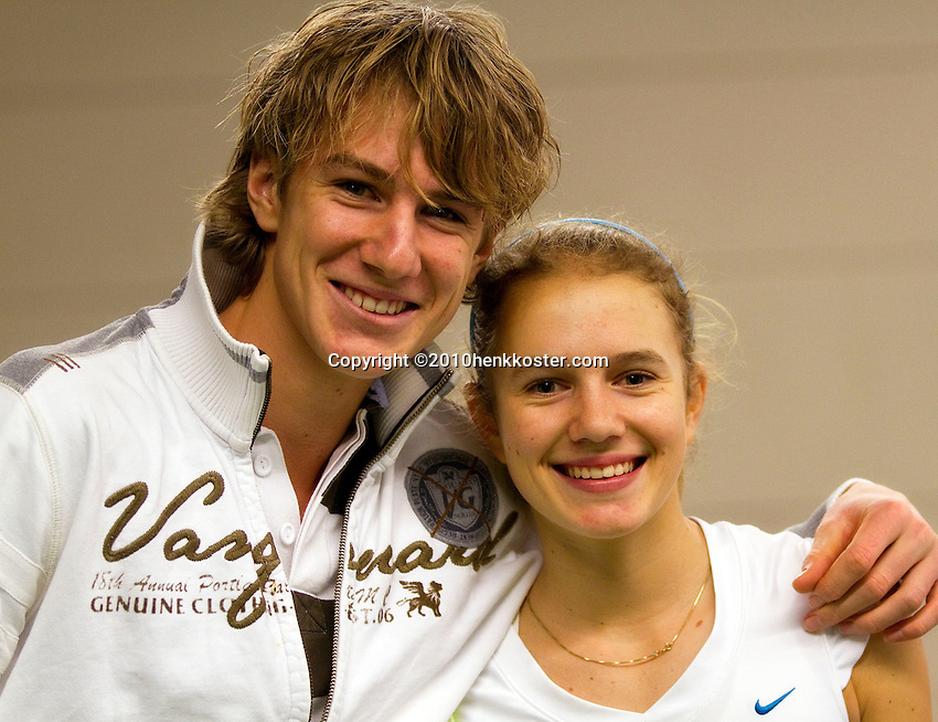 22-11-10, Tennis, Boxtel, Indy de Vroome with her brother Max