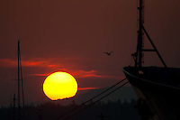 Sunrise and the TS State of Maine, Castine, Maine, US