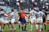14th November 2020, Sydney, Australia;  The referee blows for a penalty. Tri Nations rugby union test match,  New Zealand All Blacks versus Argentina Pumas. Bankwest Stadium, Sydney, Australia.