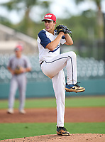 American Heritage Stallions pitcher Carsten Finnvold (2) during the 42nd Annual FACA All-Star Baseball Classic on June 6, 2021 at Joker Marchant Stadium in Lakeland, Florida.  (Mike Janes/Four Seam Images)