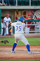 Matthew Beaty (35) of the Ogden Raptors at bat against the Orem Owlz in Pioneer League action at Home of the Owlz on June 20, 2015 in Provo, Utah. The Raptors defeated the Owlz 9-6.  (Stephen Smith/Four Seam Images)