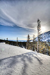 Snow covered hill side on Mt Rose Lake Tahoe