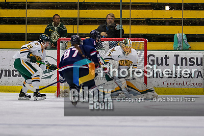 9 February 2020: University of Vermont Catamount Goaltender Blanka Škodová, a Sophomore from Šternberk, Czech Republic makes a second period save against the University of Connecticut Huskies at Gutterson Fieldhouse in Burlington, Vermont. The Lady Cats defeated the Huskies 6-2 in the second game of their weekend Hockey East series. Mandatory Credit: Ed Wolfstein Photo *** RAW (NEF) Image File Available ***