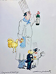 Example Watercolor 20x16 <br /> 3 Pets and Chef