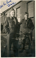 BNPS.co.uk (01202) 558833. <br /> Pic: Spink&Son/BNPS<br /> <br /> Pictured: Wing Commander Sidney 'Tubby' Baker, left. <br /> <br /> The bravery medals of a larger-than-life hero Pathfinder pilot who clocked up a staggering 100 bombing raids have emerged for sale for £32,000.<br /> <br /> Wing Commander Sidney 'Tubby' Baker, who was known for his love of food, drink and cigarettes, repeatedly risked his life in attacks on heavily defended German and Italian targets.<br /> <br /> Upon returning to his airbase after completing his century, the No 635 Squadron commander was handed a well-earned pint of beer and 'grounded with immediate effect'.<br /> <br /> As was his custom, he downed the drink and puffed on a celebratory cigarette.
