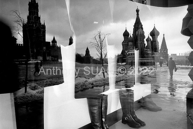 Moscow, Russia.1998.Red Square reflex in the expensive shop windows of the GUM..