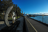 Wellington waterfront at 8.15am, Wednesday during Level 4 lockdown for the COVID-19 pandemic in Wellington, New Zealand on Thursday, 19 August 2021.