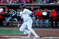 Wisconsin Timber Rattlers outfielder Monte Harrison (3) launches a fly ball to the outfield during a Midwest League game against the Lansing Lugnuts on April 29th, 2016 at Fox Cities Stadium in Appleton, Wisconsin.  Wisconsin defeated Lansing 2-0. (Brad Krause/Four Seam Images)