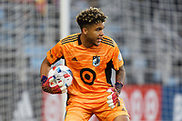 SAINT PAUL, MN - APRIL 24: Dayne St. Clair #97 of Minnesota United FC with the ball during a game between Real Salt Lake and Minnesota United FC at Allianz Field on April 24, 2021 in Saint Paul, Minnesota.
