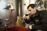 """Switzerland. Canton Ticino. Ligornetto. Firm """"Vinattieri Ticinesi"""". Wine growing and producing. Coming out of the inox fermenting tuns, the last harvested grapes produce a 2007 red Merlot wine which needs to be oxygenated. Danilo Montanaro, oenologist, is smelling with his nose and tasting a 2007 Merlot red wine. Wineglass. © 2008 Didier Ruef"""
