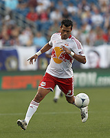 New York Red Bulls defender Wilman Conde (2) on the wing. In a Major League Soccer (MLS) match, New England Revolution defeated New York Red Bulls, 2-0, at Gillette Stadium on July 8, 2012.