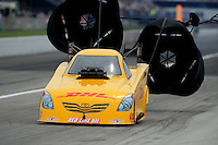 Sept. 5, 2011; Claremont, IN, USA: NHRA funny car driver Jeff Arend during the US Nationals at Lucas Oil Raceway. Mandatory Credit: Mark J. Rebilas-