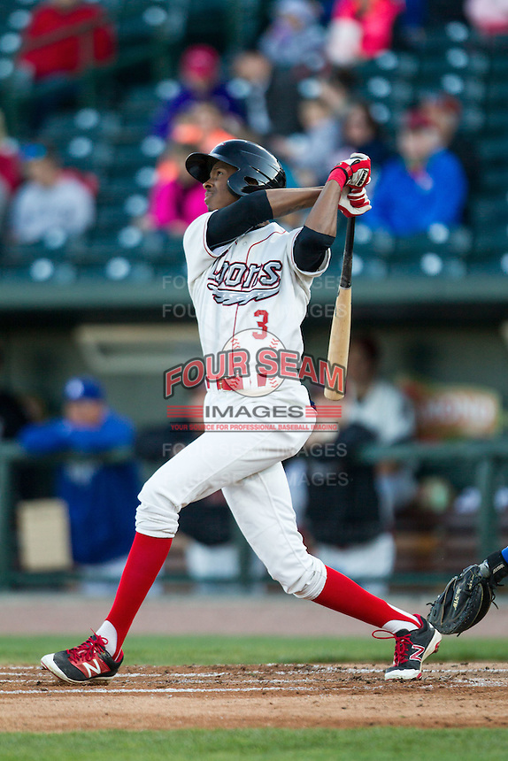 Great Lakes Loons shortstop Brendon Davis (3) follows through on his swing against the South Bend Cubs on May 18, 2016 at Dow Diamond in Midland, Michigan. Great Lakes defeated South Bend 5-4. (Andrew Woolley/Four Seam Images)