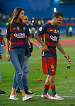 FC Barcelona's Daniel Alves celebrates with his girlfriend the Spanish model Joana Sanz the victory in the Spanish Kings Cup Final match. May 22,2016. (ALTERPHOTOS/Acero)
