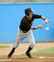 June 20, 2008: Outfielder Danny Figueroa (2) of the Frederick Keys, Carolina League affiliate of the Baltimore orioles, in a game against the Potomac Nationals at G. Richard Pfitzner Stadium in Woodbridge, Va. Photo by:  Tom Priddy/Four Seam Images