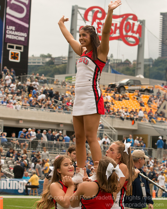 Youngstown State cheerleaders. The Pitt Panthers defeated the Youngstown State Penguins 28-21 in overtime at Heinz Field, Pittsburgh, Pennsylvania on September 02, 2017.