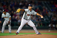 Scranton/Wilkes-Barre RailRiders starting pitcher Nestor Cortes (33) delivers a pitch during the second game of a doubleheader against the Rochester Red Wings on August 23, 2017 at Frontier Field in Rochester, New York.  Rochester defeated Scranton 1-0.  (Mike Janes/Four Seam Images)