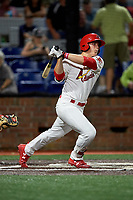 Johnson City Cardinals third baseman Nolan Gorman (4) follows through on a swing during a game against the Danville Braves on July 28, 2018 at TVA Credit Union Ballpark in Johnson City, Tennessee.  Danville defeated Johnson City 7-4.  (Mike Janes/Four Seam Images)