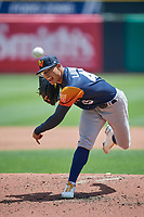 Las Vegas Aviators starting pitcher Jesús Luzardo (45) throws to the plate against the Salt Lake Bees at Smith's Ballpark on June 27, 2021 in Salt Lake City, Utah. The Aviators defeated the Bees 5-3. (Stephen Smith/Four Seam Images)