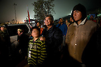 Copiapo, Chile oct 2010. Familys of the 33 miners trapped inside the mines San Jose waiting for the last hrs before the rescue.