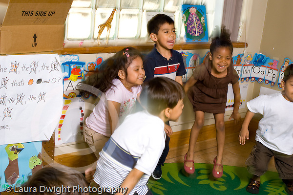 New York City preschool ages 3-5 circle time group of children dance music activity