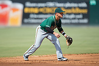 Greensboro Grasshoppers shortstop Luis Pintor (8) on defense against the Kannapolis Intimidators at Kannapolis Intimidators Stadium on August 13, 2017 in Kannapolis, North Carolina.  The Grasshoppers defeated the Intimidators 4-1 in 10 innings in the completion of a game suspended on August 12, 2017.  (Brian Westerholt/Four Seam Images)