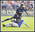 23/08/2003                   Copyright Pic : James Stewart.File Name : stewart-falkirk v qots 09.BRENT RAHIM IS BROUGHT DOWN BY WILIE GIBSON.....James Stewart Photo Agency, 19 Carronlea Drive, Falkirk. FK2 8DN      Vat Reg No. 607 6932 25.Office     : +44 (0)1324 570906     .Mobile  : +44 (0)7721 416997.Fax         :  +44 (0)1324 570906.E-mail  :  jim@jspa.co.uk.If you require further information then contact Jim Stewart on any of the numbers above.........